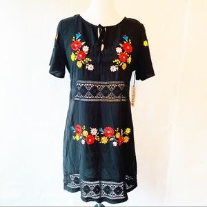 NWT Forever 21 Black Embroidered Swimsuit Cover M